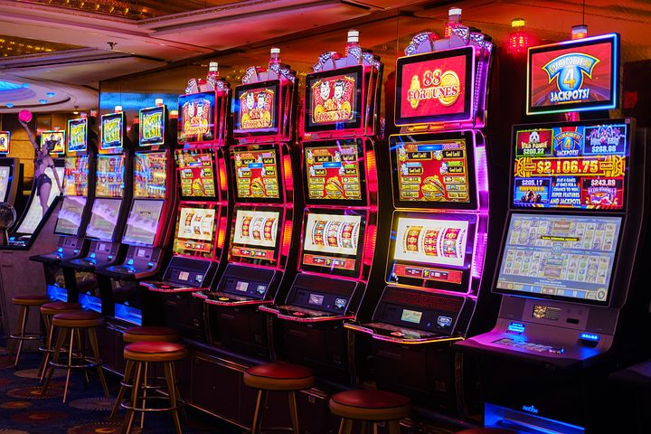 Bank of slot machines in a Casino