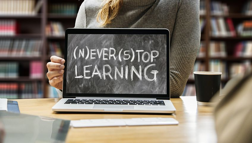 Never stop learning written on laptop screen